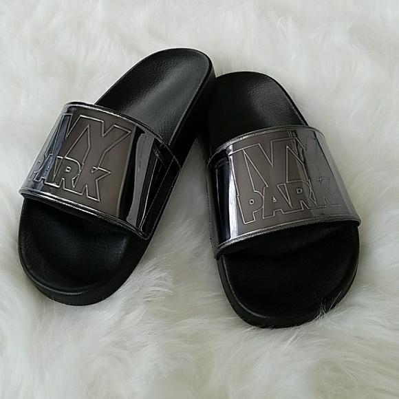 35220f2bc Ivy Park Shoes | Beyonce Mirrored Black Slide Sandals | Poshmark